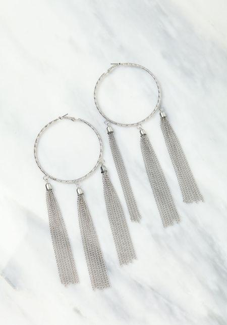 Silver Large Hoop Long Tassel Earrings