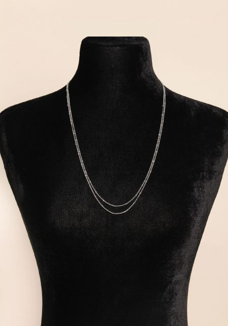Silver Two In One Thin Layered Belly Chain & Neckl