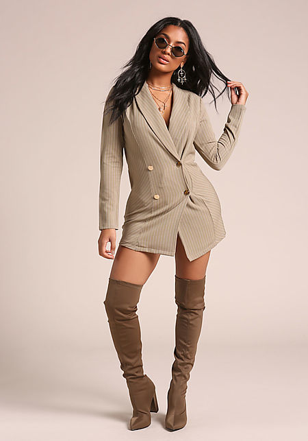 Taupe Double Breasted Pinstripe Blazer