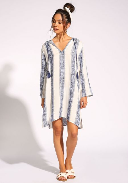 White and Navy Geometric Hooded Shift Dress
