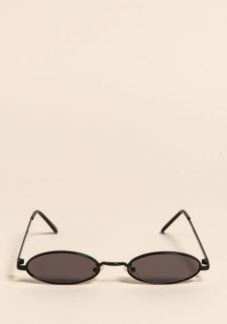 Black Skinny Oval Sunglasses