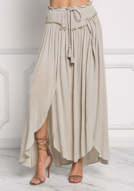 Sage Gauze Ruched High Slit Maxi Skirt