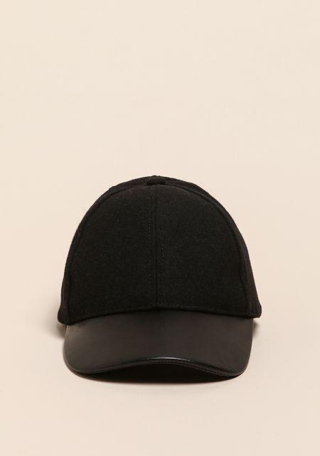 Black Leatherette Baseball Cap