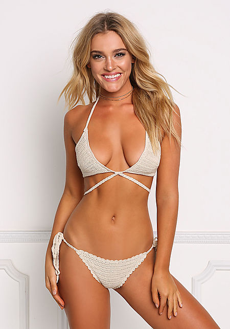Nude Crochet Tie Back Swimsuit Bikini Top