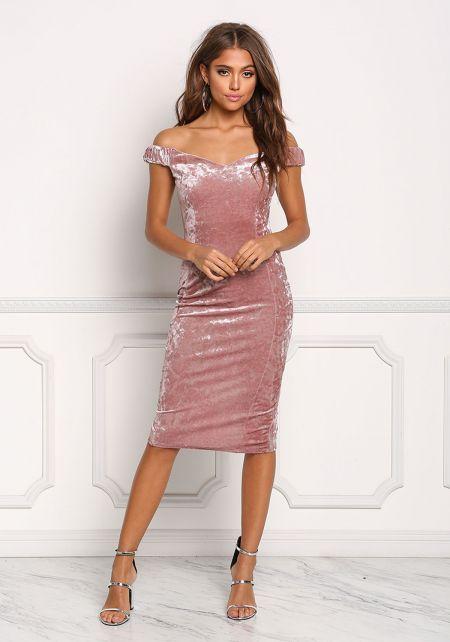 Mauve Off Shoulder Sparkle Crushed Velvet Dress