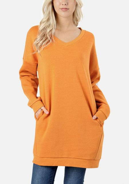 Mustard Pullover Pocket Sweater Shift Dress