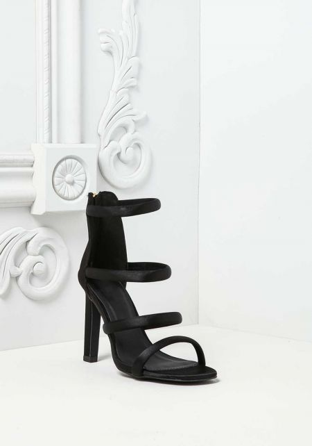 Black Satin Multi Strap Heels