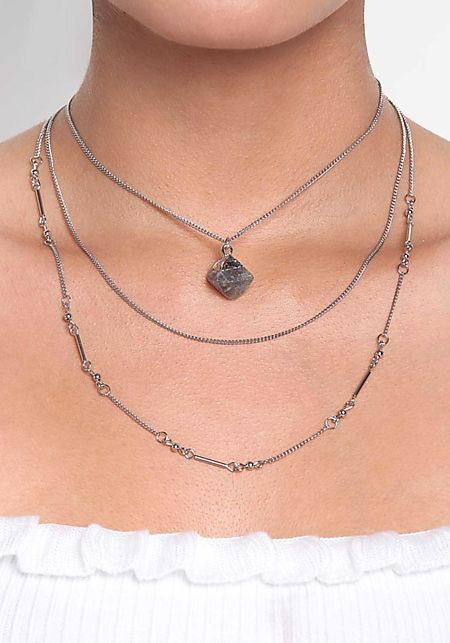 Silver Stone Layered Delicate Necklace