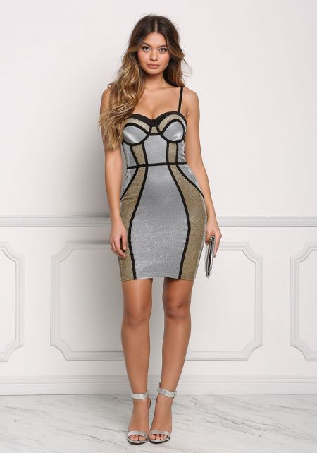 Gold and Silver Color Block Sparkle Bustier Dress