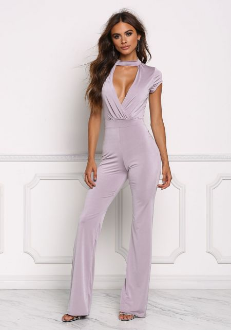 Dusty Lilac Plunge Open Back Jumpsuit