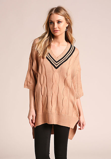 Khaki Cable Knit Stripe Hi-Lo Sweater Top