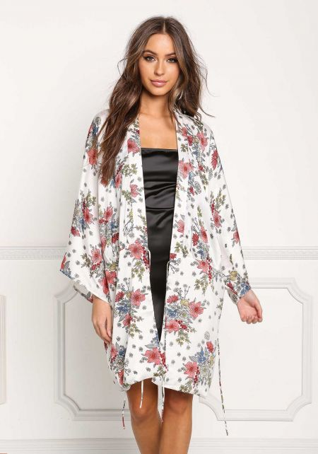 Off White Floral Crepe Kimono Wrap Dress