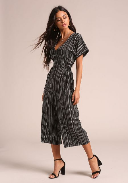 Black Pinstripe Side Lace Up Cropped Jumpsuit