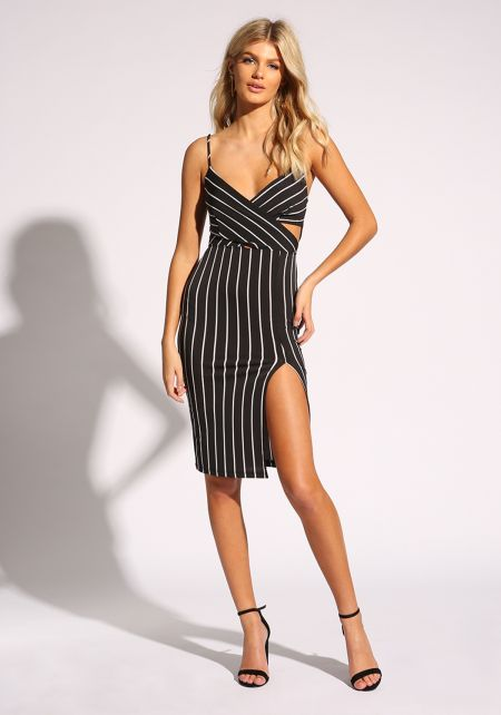 Black and White Pinstripe Bodycon Dress