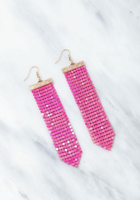 Hot Pink Chandelier Iridescent Earrings