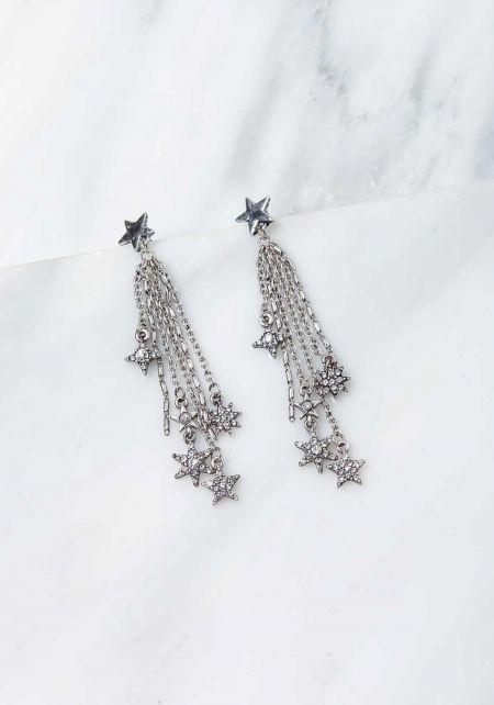 Silver Star Dangle Multi Chain Earrings