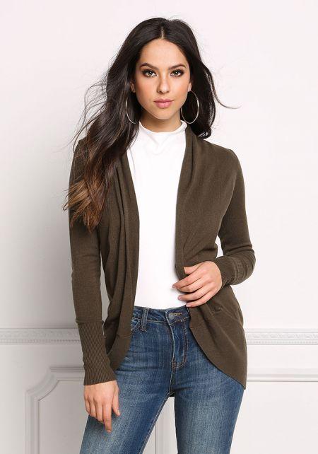 Olive Minimalist Soft Knit Cardigan