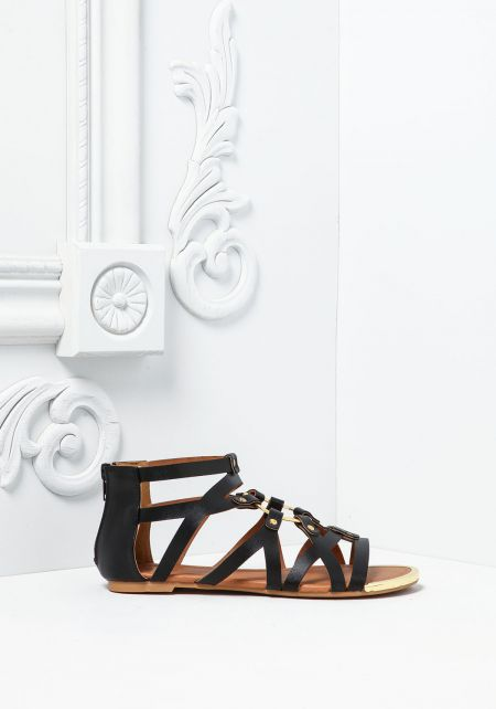 Black Leatherette Multi Strap Sandals