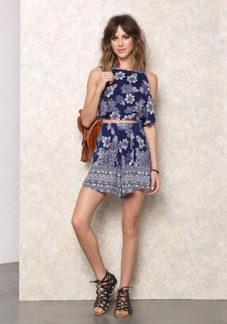 Blue Floral Print High Waist Shorts