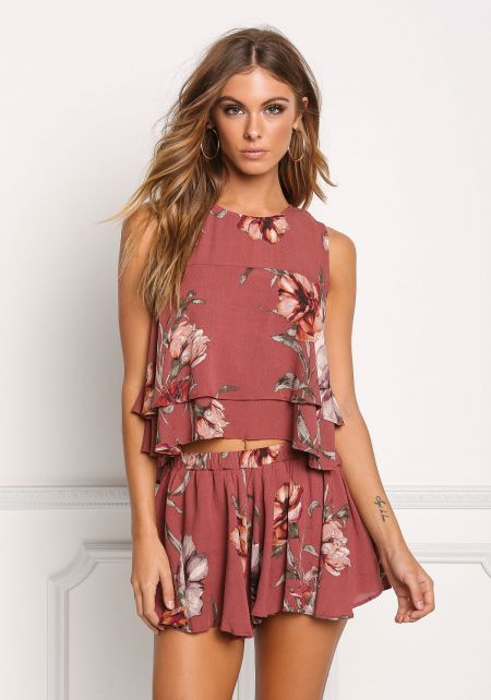 Burgundy Floral Crepe Layered Slit Tank Top