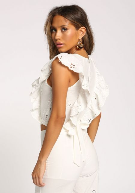 White Eyelet Ruffle Sleeve Tie Back Crop Top