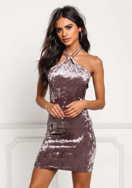 Dark Purple Crushed Velvet Double Strap Dress