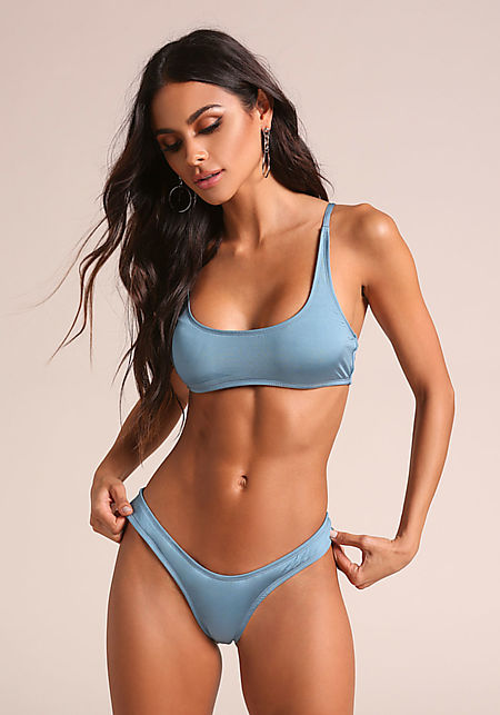 Blue Metallic Swimsuit Bikini Bottoms