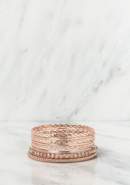 Rose Gold Assorted Bangle Bracelets Set