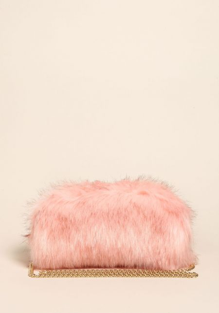 Pink Shaggy Faux Fur Clutch