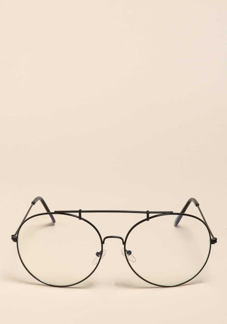 Black Top Bar Clear Round Glasses