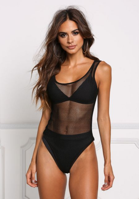 Black Deep Back Mesh Net Bodysuit
