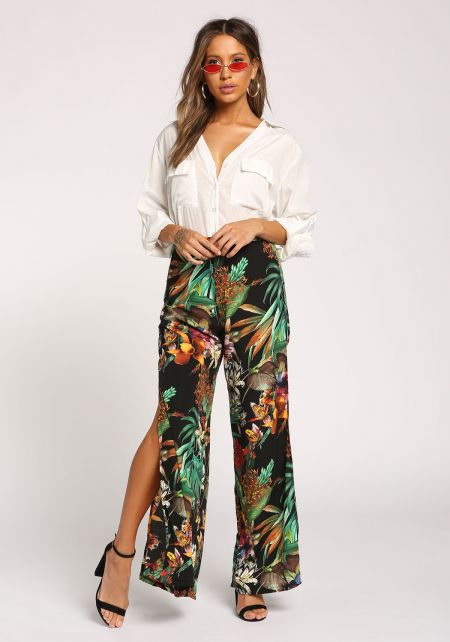 Black Tropical Floral Slit Palazzo Pants
