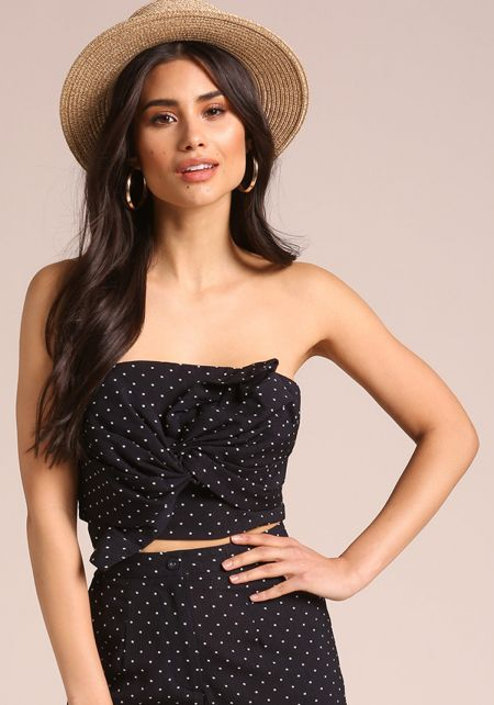 Navy Polka Dot Twisted Crop Top