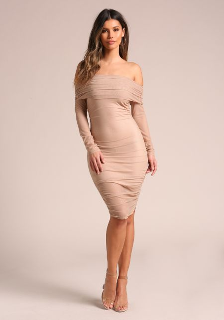 Nude Mesh Rhinestone Off Shoulder Bodycon Dress