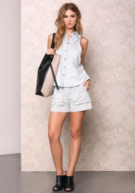 Light Denim Button Up Collared Top