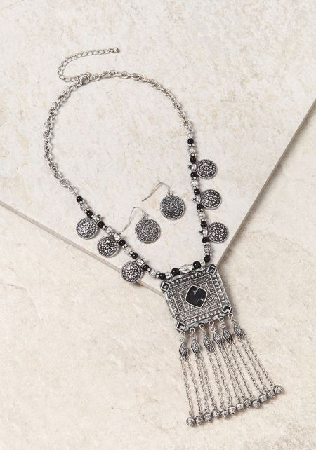 Black and Silver Engraved Coin Tassel Necklace