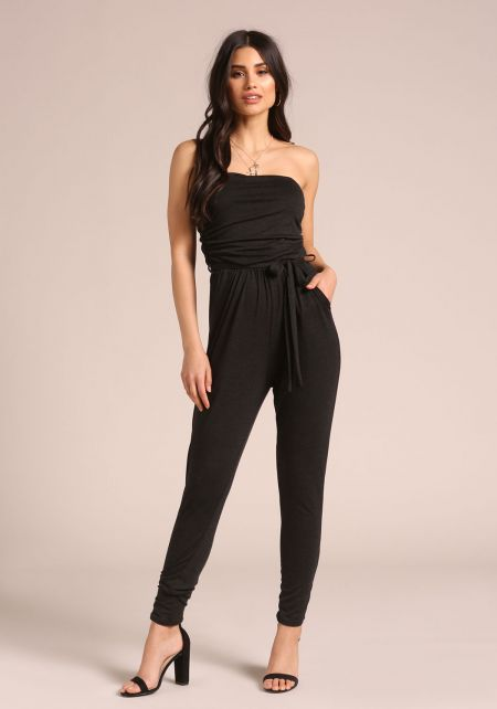 Black Strapless Waist Tie Jumpsuit