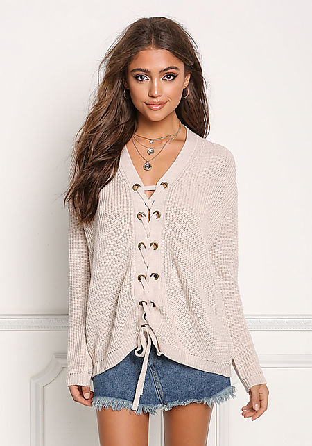 Taupe Lace Up Thick Knit Sweater