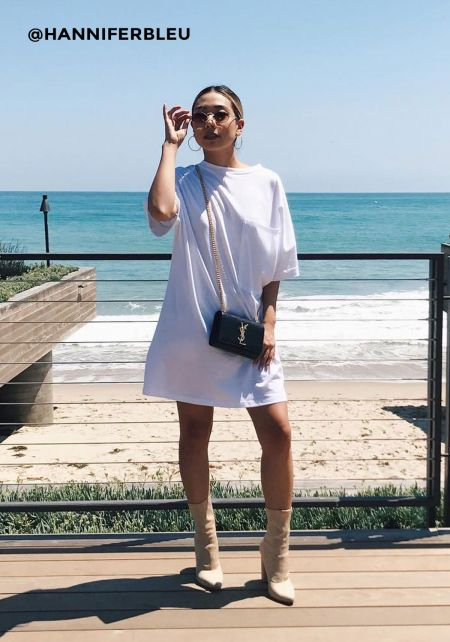 White Over Sized Pocket T-Shirt Dress