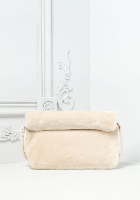 Ivory Faux Fur Rolled Clutch