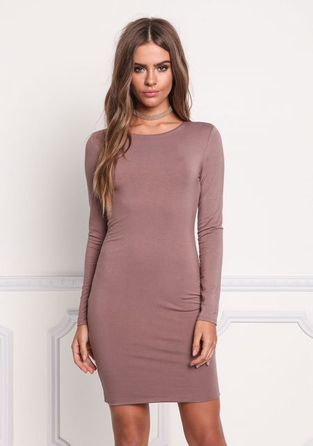 Cocoa Solid Bodycon Dress