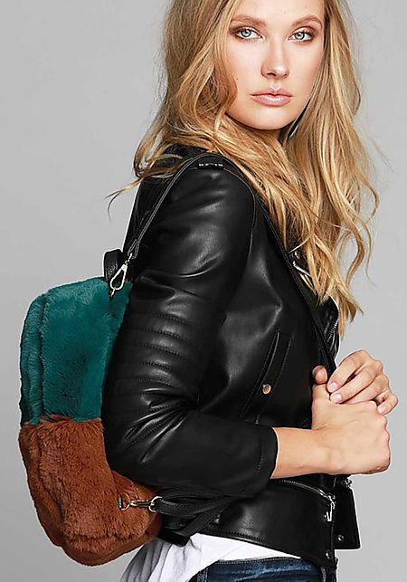 Teal Color Block Faux Fur Backpack
