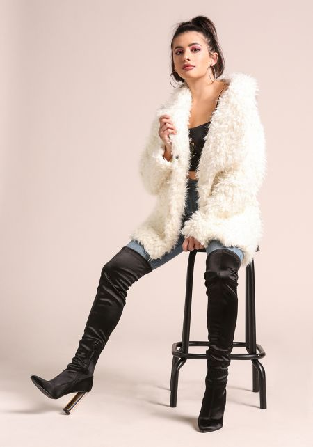 Cream Shaggy Faux Fur Coat