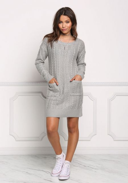 Heather Grey Cable Knit Shift Dress