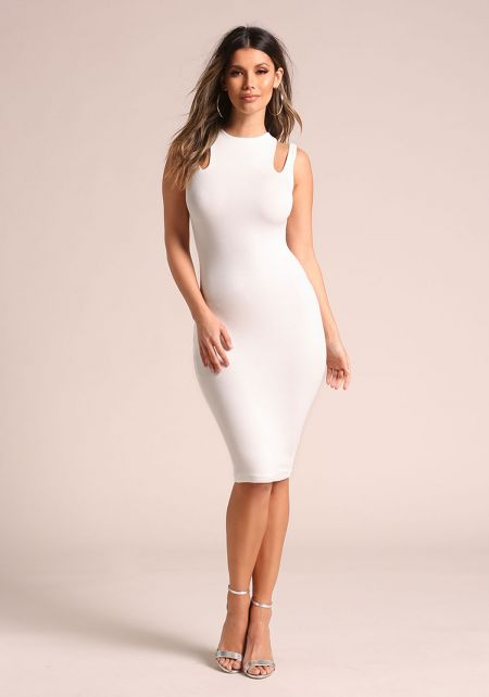 Ivory Double Strap Sleek Bodycon Dress