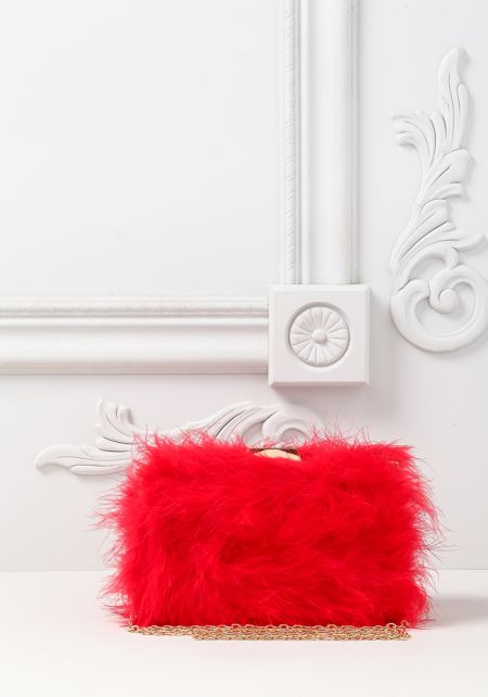 Red Fuzzy Faux Feather Clutch