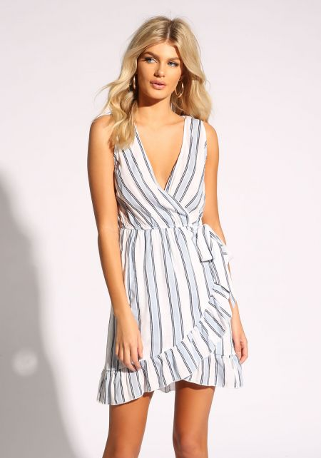 Light Blue Pinstripe Faux Wrap Dress