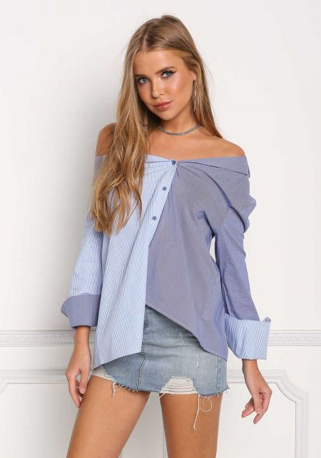 Blue Pinstripe Off Shoulder Button Down Blouse