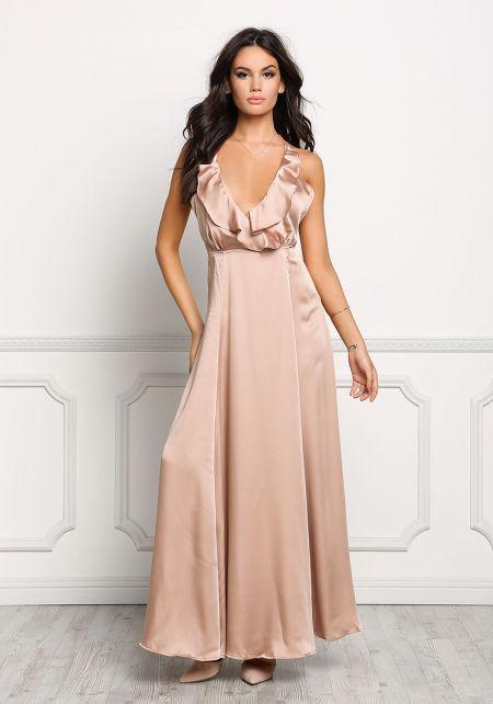 Blush Satin Wrap Maxi Dress