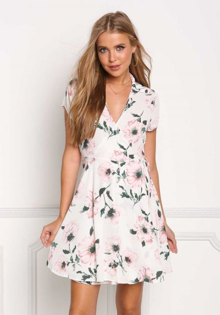 Ivory Floral Wrap Flared Dress